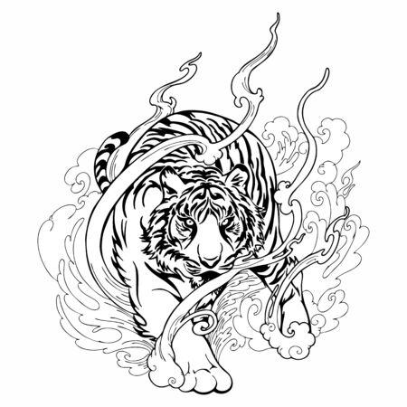 Tatuaje oriental del tigre que camina decorar con el vector del dibujo del garabato blanco y negro de la nube Ilustración de vector