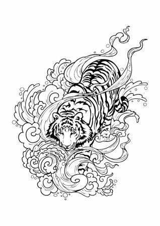 Tiger laufen auf Wolken mit windigem Rauch wie auf einem Hafen. Doodle-Zeichnungsdesign für orientalischen japanischen oder Chanciness-Tattoo-Ziervektor mit weißem Hintergrund Vektorgrafik