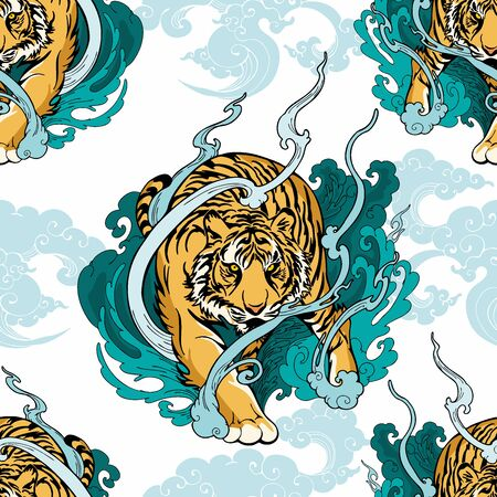 Illustration doodle and paint Tiger walking  on cloud or haven Illustration doodle and paint design for seamless pattern with white background 版權商用圖片 - 130424122