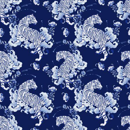Illustration weißer Tiger Design in Tattoo blau Porzellan nahtlose Musterelemente Vektor mit tiefblauem Porzellan Hintergrund Vektorgrafik