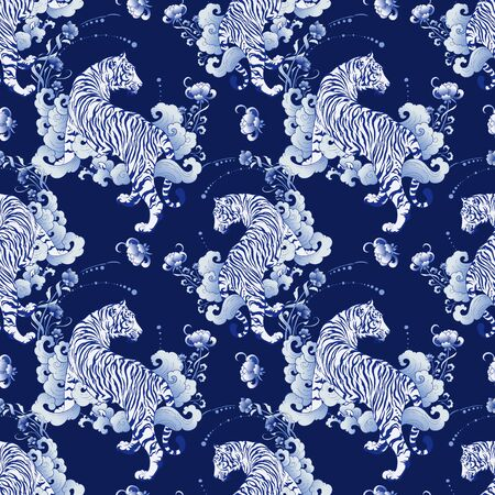 illustration white tiger design in tattoo  blue Porcelain seamless pattern elements vector with deep blue Porcelain background Illustration