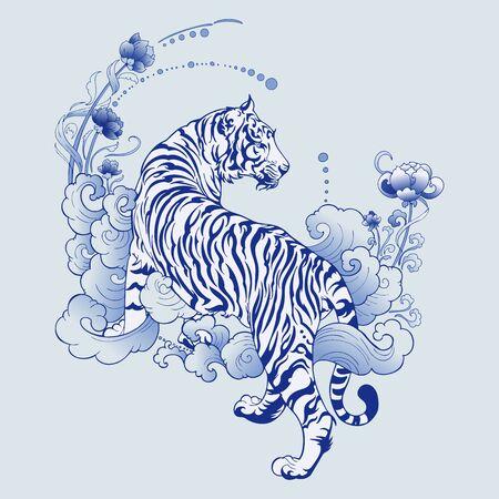 Illustration weißer Tiger Design in Tattoo Blau Porzellan für Druckelemente Vektor mit hellblauem Keramikfarbhintergrund
