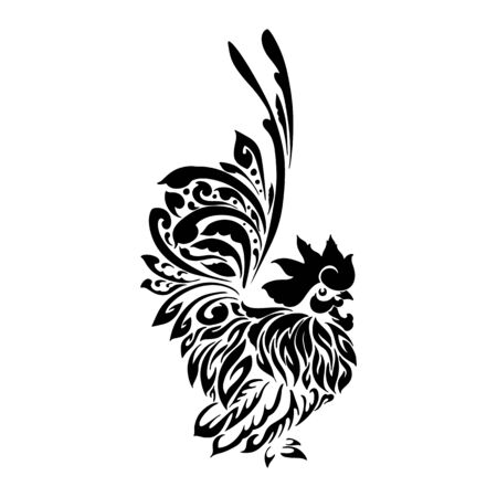 Chicken tribal tattoo oriental style vector with white background