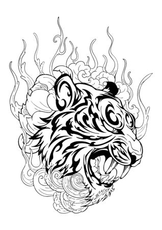 Tiger head in roar with lotus flower decorate with cloud or smoke design with oriental Japanese tattoo style vector