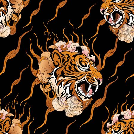 tiger head with flower and tiger texture design with oriental Japanese tattoo style design for seamless pattern vector with golden tone and black background