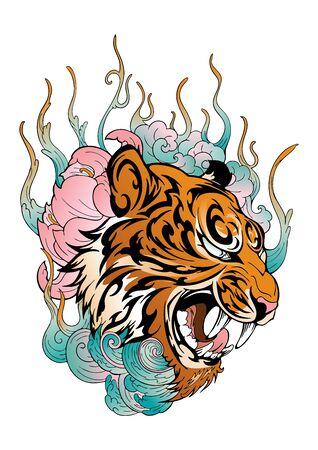 Cabeza de tigre rugiendo con flor de loto decorada con diseño de nube o humo con estilo de tatuaje de color japonés oriental