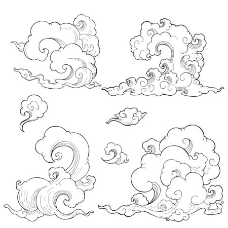 Oriental  Japanese, Chinese, Thailand cloud with vertical shape vector set