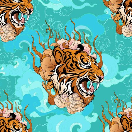 Tiger head with cloud illustration design from Chinese or Japanese tattoo style with Aqua green tone background seamless pattern vector Illustration