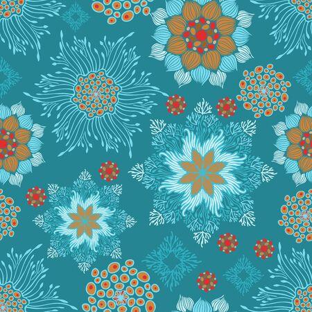 mandala botany branch  design concept vector seamless pattern with aqua green tone background