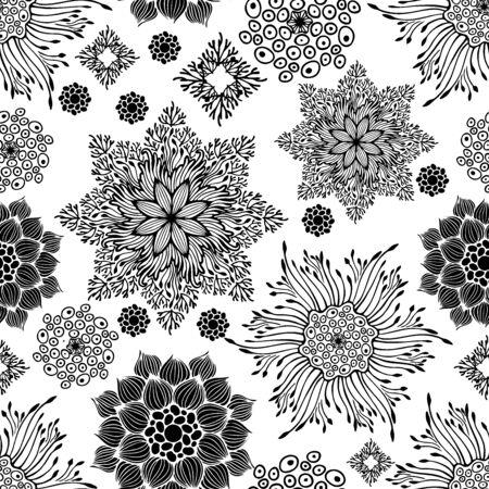 motif black and white mandala botany branch design concept vector seamless pattern Illustration