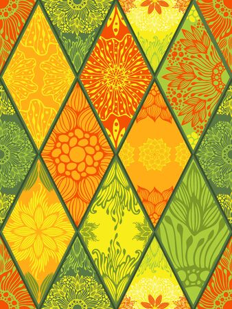 Mandala in diamond square seamless pattern vector with yellow orange and green tone