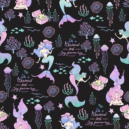 Mermaid doodle with coral fish jellyfish alga in ocean life and typography seamless pattern vector with black background