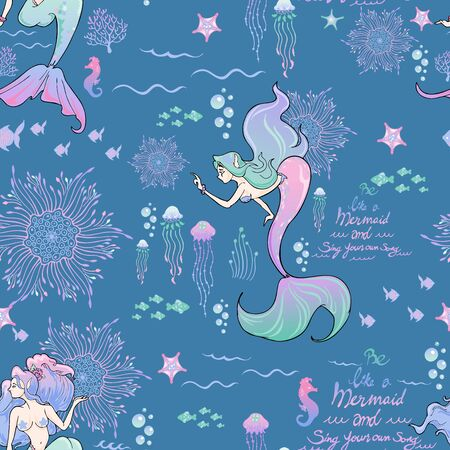 mermaid and boho mandala and marine life and typography illustration doodle seamless pattern vector with blue background Ilustracja