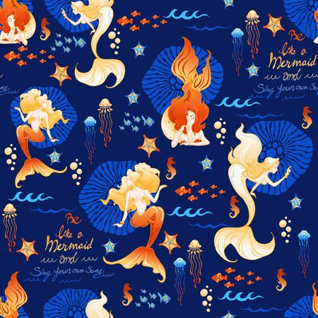 mermaid fish jellyfish coral doodle illustration  with goldfish color concept seamless pattern vector with deep navy blue  background