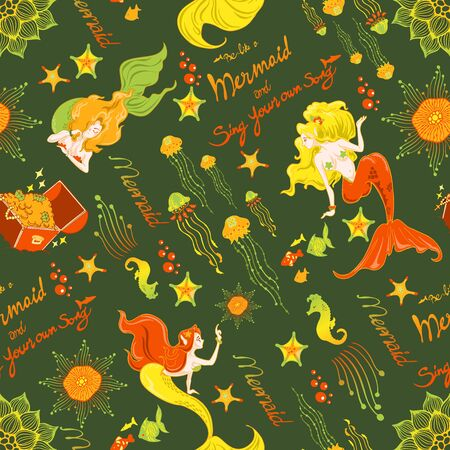 mermaid fish jellyfish coral illustration doodle seamless pattern vector with yellow orange and green tone background