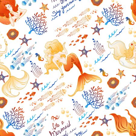 mermaid fish jellyfish coral in golden and blue color concept illustration doodle seamless pattern vector with white  tone background Illustration
