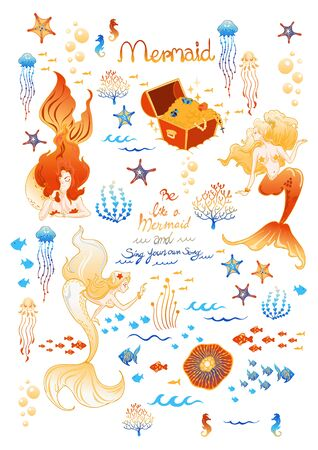 mermaid and marine or under ocean fantasy golden color concept illustration doodle sticker vector set with whit background