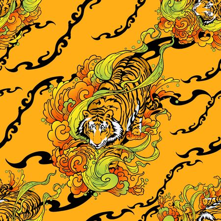 tiger walk in cloud illustration doodle tattoo style seamless pattern vector with orange yellow texture background