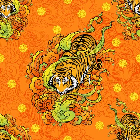 tiger walk in cloud illustration doodle tattoo style seamless pattern vector  with orange yellow background Illustration
