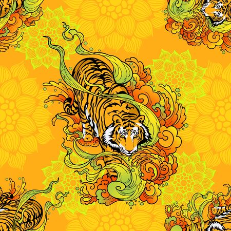 tiger walk in cloud illustration doodle tattoo style seamless pattern vector with orange yellow mandala background