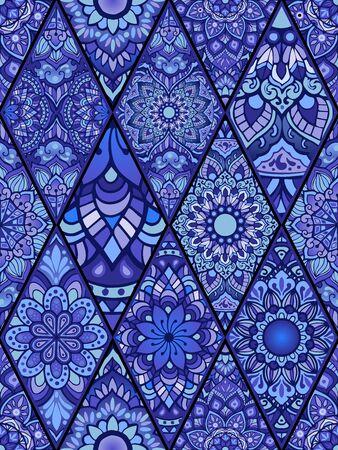 random Mandala doodle illustration design seamless pattern vector in indigo color tone concept in Diamond square shape