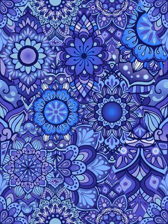 random Mandala doodle illustration design seamless pattern vector in indigo color tone concept in collage Illustration