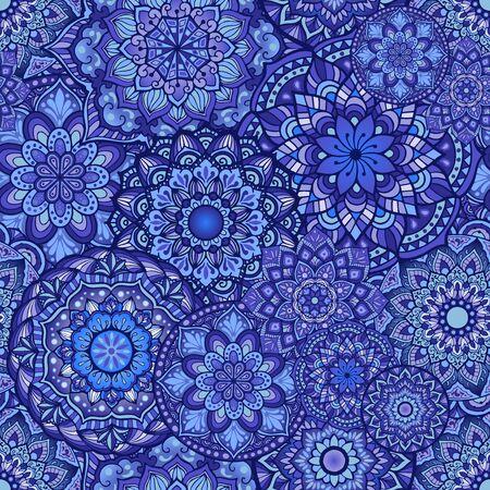 random Mandala doodle illustration design seamless pattern vector in indigo color tone concept Illustration