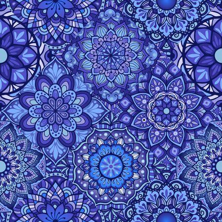 Porcelain tiles with  indigo blue Mandala set concept seamless pattern vector
