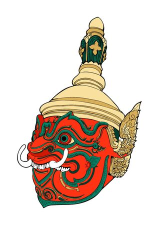 Thao Wessuwan king of giant.Thailand heritage Khon mask Thailand heritage illustration doodle tattoo style vector with true color paint