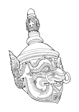 Thao Wessuwan king of giant.Thailand heritage Khon mask Thailand heritage illustration doodle tattoo style vector with motive black and white