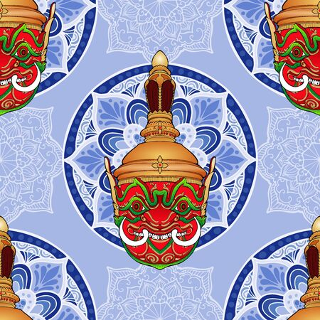 Thao Wessuwan inThai Khon mask pantomime with mandala vector seamless pattern with Porcelain blue background