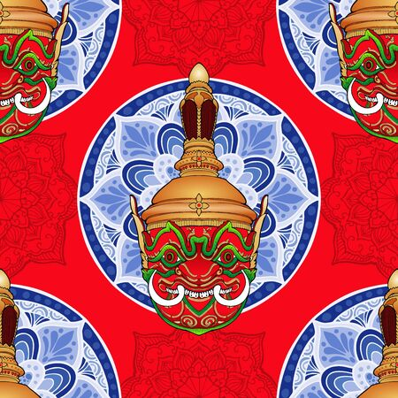 Thao Wessuwan inThai Khon mask pantomime with mandala vector seamless pattern with red background