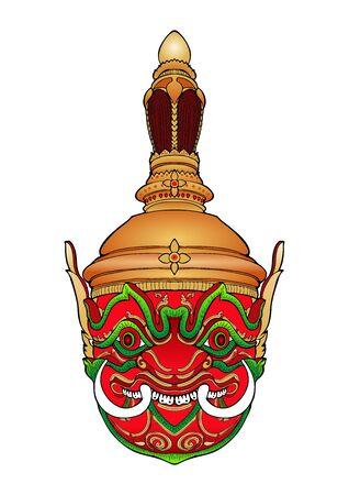 Thao Wessuwan inThai Khon mask pantomime with mandala vector art work Illustration