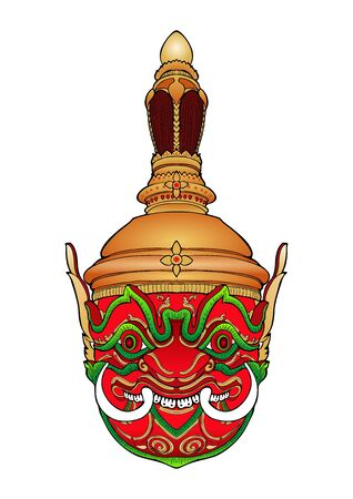 Thao Wessuwan inThai Khon mask pantomime with mandala vector art work