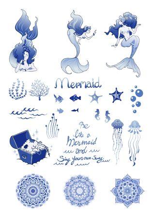 Mermaid and Mandala design with Porcelain light blue concept doodle illustrator sticker vector set