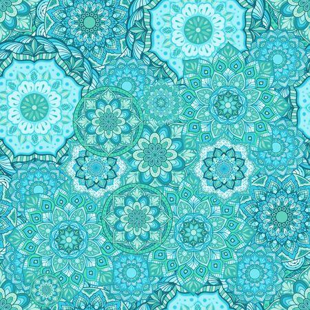 Mandala with aqua menthe green color concept illustration doodle seamless pattern vector