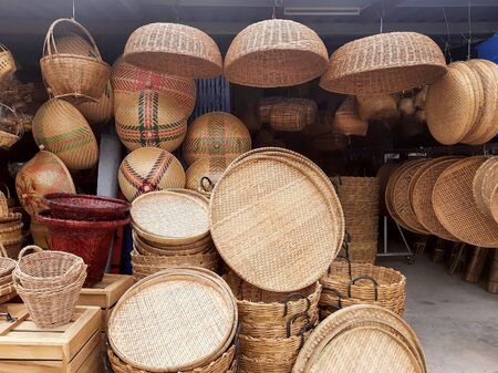 shopping with Thailand local basketwork shop .Support the income of the villagers