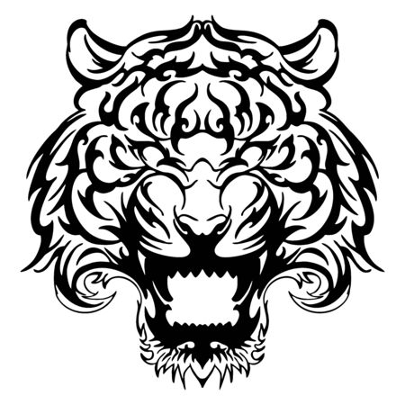 anger Tiger face tribal tattoo vector