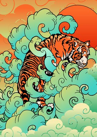 Tiger with in the cloud and sun oriental Japanese or Chinese  illustration tattoo digital painting style vector background Stock Illustratie