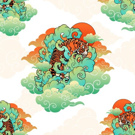 Tiger Japaneses or Chinese oriental doodle illustrator with cloud tattoo style seamless pattern vector with white background
