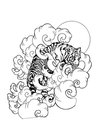 Tiger walk in cloud oriental Japanese or Chinese tattoo doodle illustration vector with white background