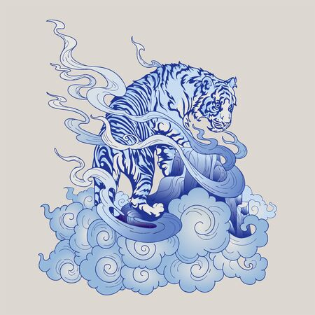 Tiger oriental Japanese or Chinese illustration doodle in tattoo style with blue Porcelain tone light gray   background  vector