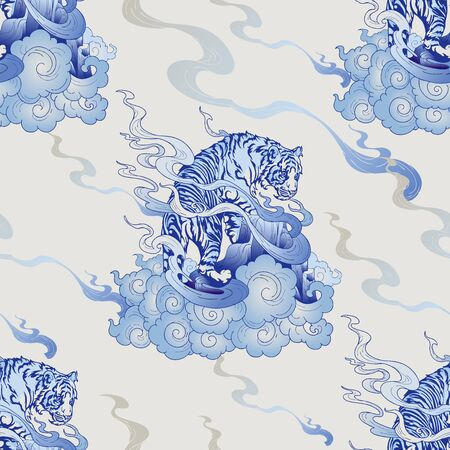 Tiger Climbing with cloud design with oriental style with blue Porcelain seamless pattern vector background