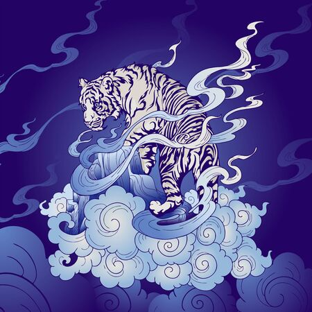 Tiger oriental Japanese or Chinese illustration doodle in tattoo style with blue Porcelain tone and indigo blue   background vector