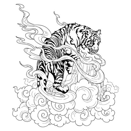 Tiger Climbing on hill and cloud design with Chinese or Japanese tattoo illustration ink doodle drawing  oriental for coloring vector with white background