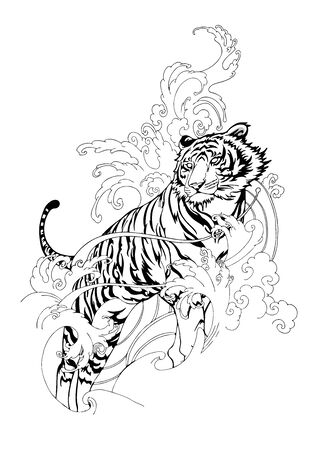 Tiger Hiking in Ocean wave and cloud design  Chinese or Japanese illustration motive vector for tattoo with white background