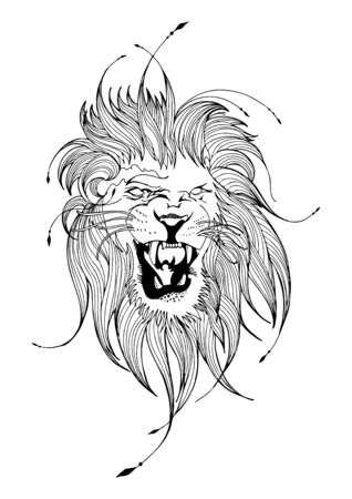 Lion face line art illustrator free hand ink sketch drawing for motif tattoo vector with white background Stock Illustratie