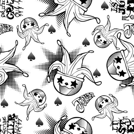 cute  devilish joker motif black and white doodle illustration cartoon  with burst or boom and typography vector seamless pattern with white background