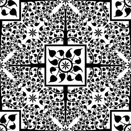 Bodhi Tree and Bodhi leaves  design with Lanna Thailand traditional ornament concept motif black and white for print seamless pattern vector background
