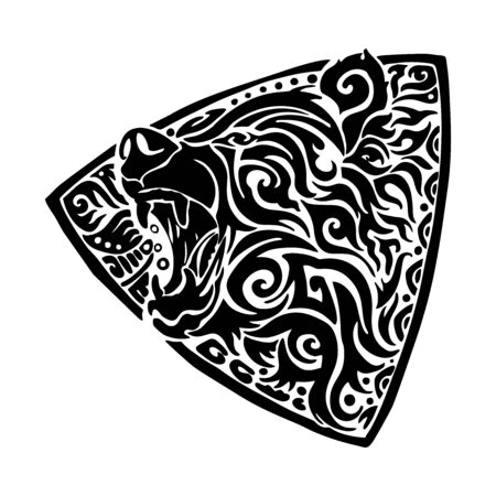 Bear roar with triangle shield illustration design for tribal tattoo vector with white background